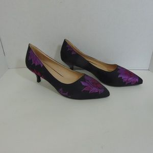 Ashro Shoes - Navy Blue Pumps Purple Flowers Heels Shoes 7M